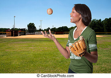 Baseball Player - Black African American woman playing...