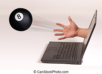 Eightball and Computers. - Hand throwing eightball out of...