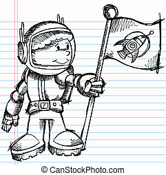 Notebook Sketch Astronaut Vector - Notebook Sketch Doodle...