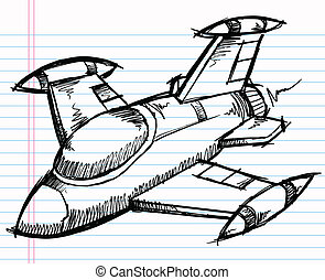 Sketch Doodle Jet Aircraft vector