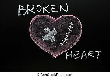 Broken heart drawn with chalk on a blackboard