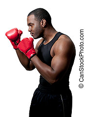 Black Man Boxer - A black African American man athletic...