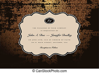 Vector Distressed Background and Ornate Frame. Easy to edit....