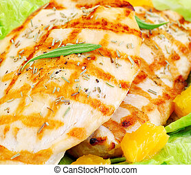 Grilled chicken fillet with rosemary and orange, tasty meal,...