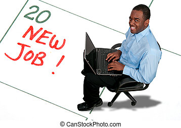 A man with a New Job - Black African American man with a...