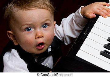 bebé, aprendizaje, Música