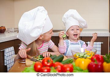 dois, pequeno, meninas, Preparar, saudável, alimento,...