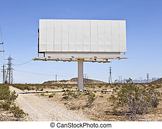 Blank Mojave Billboard - Blank billboard in the middle of...