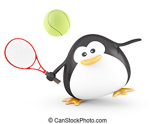 Tennis Player - Fat tennis player penguin - 3D Render