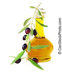 Olive Oil - Fresh black olives & olive oil isolated on white...