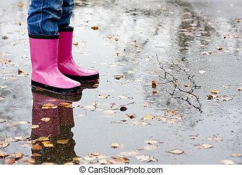 水たまり, ブーツ