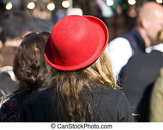 red hat - blonde woman with a red hat