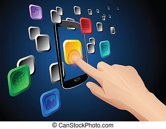 Hand touching mobile cloud app icon - Illustration of hand...