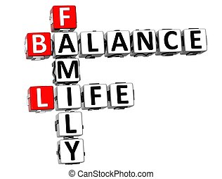 3D Balance Life Family Crossword on white background