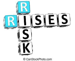3D Rises Risk Crossword on white background