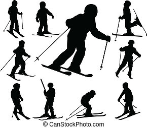 children skiing silhouettes - vector