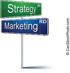 Marketing-strategy direction sign.