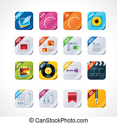 Square file labels icon set - Set of the detailed icons...