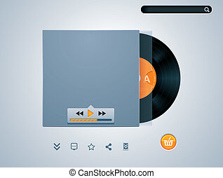 Vector vinyl disk in player - Vinyl disk styled audio player...