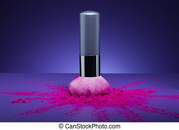 makeup brush and face powder scattered - Creative shoot of...