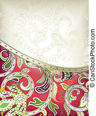 Abstract Red Floral Curve
