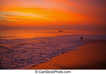 Bali beach at sunset, Dreamland beach, Bali, Indonesia