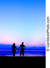 silhouette, coppia, tramonto