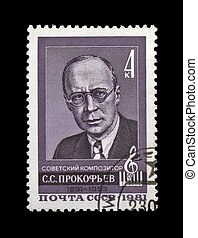 USSR - CIRCA 1981: cancelled stamp printed in the USSR, shows famous russian, soviet composer, pianist, conductor Sergey Prokofiev, circa 1981. vintage post stamp on black background.