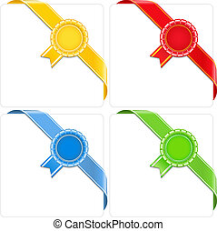 Award corner ribbons, vector eps10 illustration