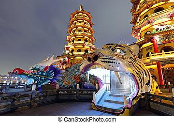 Dragon Tiger Tower at night
