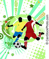 Football poster background - Action football players on...