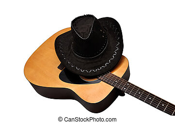 acoustic guitar and hat on a white background