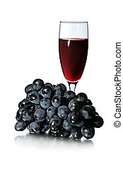 Glass of red wine and bunch of grapes isolated on white...