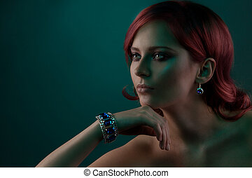 Beauty portrait with jewelry bracelet
