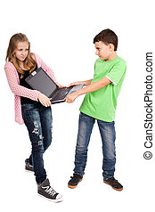 Children fighting over a laptop, isolated on white...