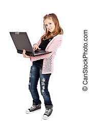 Cute girl holding a laptop