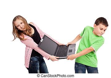 encima, computador portatil, lucha, niños