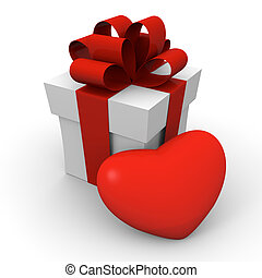 Valentine's Day gift box with a big red heart