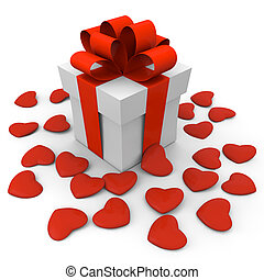 Valentine's Day gift box with small hearts
