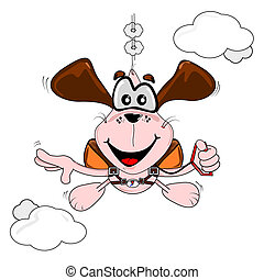 Cartoon dog parachuting - A cartoon dog freefall parachuting...