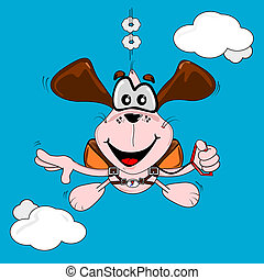 A cartoon dog freefall parachuting on a blue sky background