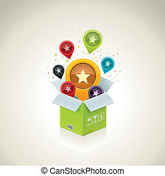 Vector open surprise box - Detailed icon representing open...