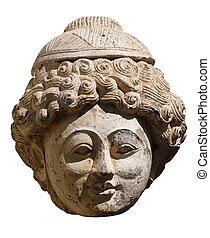 Indian head - Ceramic Indian head ancient sculpture isolated...