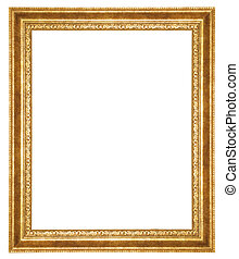 antique fram - gold antique frame isolated on white...
