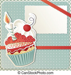 Birthday Cupcake - Birthday card with funny cupcake and copy...