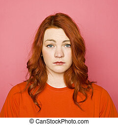 Woman on pink background