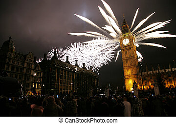 New Years Eve Fireworks - 2012, Fireworks over Big Ben at...