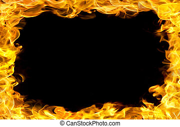 fire border with flames - fire flames border, copy space in...