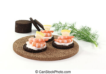 Hors d oeuvre - Pumpernickel bread with cream cheese, shrimp...