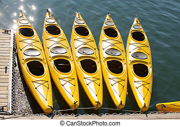Sea kayaking - Yellow sea kayaks in Bar Harbor, Maine